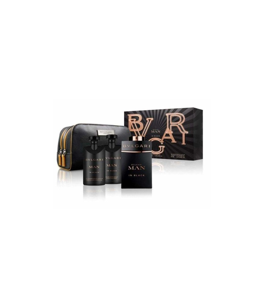 Giftset-Bvlgari New Man In Black For Men Edp 100ml + After Shave 100gr + Shower Gel 100gr + Trouse