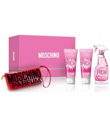 Giftset-Moschino Fresh Couture Pink For Women Edt 100ml + Bodylotion 100ml + Shower Gel 100ml + Menicure