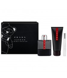 Giftset-Prada Luna Rosa Carbon For Men Edt 100ml + Shower Gel 100ml + Travel-Size 10ml