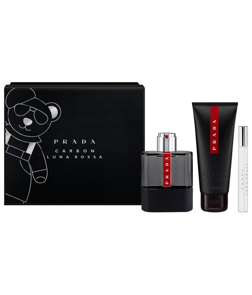 Giftset-Prada Luna Rosa Carbon For Men Edt 100ml + Shower Gel 100ml + Travel-Size 10ml