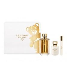 Giftset-Prada La Femme Prada For Women Edp 100ml + Body Lotion 100ml + Travel-Size 10ml