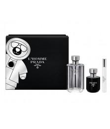 Giftset-Prada L'Homme Prada For Men 100ml + Travel-Size 10ml + Shower Gel 100ml