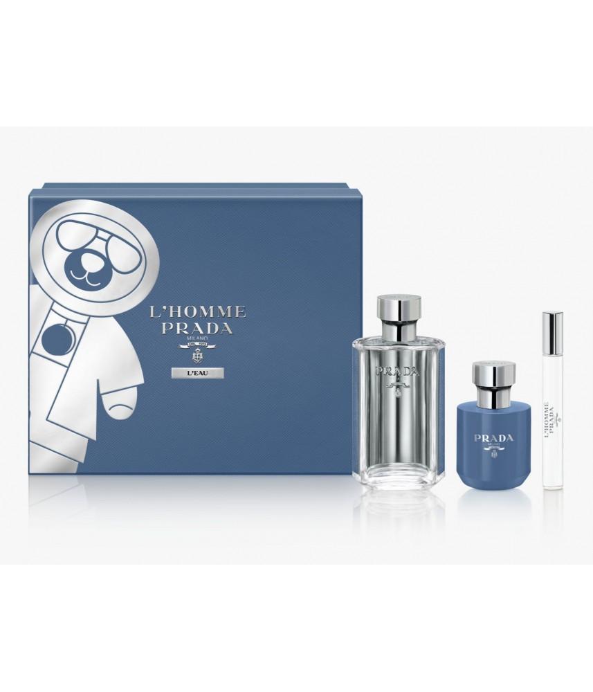Giftset-Prada L'Homme Prada L'eau For Men 100ml + Travel-Size 10ml + Shower Gel 100ml