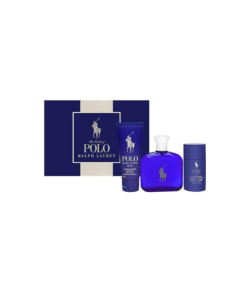 Giftset-Ralph Laurent Polo Blue For Men Edt 125ml + Shower Gel 100ml + Deodorant Stick 75gr