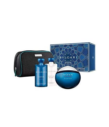 Giftset-Bvlgari Aqva Atlantiqve For Men Edt 100ml + After Shave 100gr + Shower Gel 100gr + Trouse